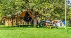 in een safaritent onder de bomen
